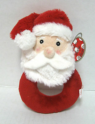 "Baby Ring Rattle 6"" Plush Toy ""lil Santa Rattle"" #198102 Bearington Collection"