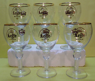 Lot De 6 Verres A Biere Leffe Royale , Type Calice , 33 Cl  , Vlf171 *