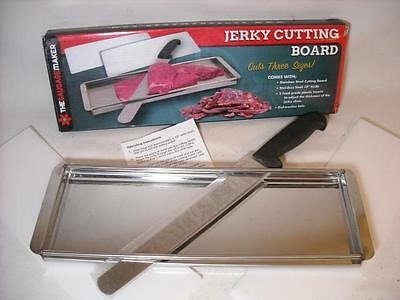 "Tsm Jerky Cutting Board, Cuts 3 Sizes Sausage Maker Stainless Steel W/ 10"" Knife"