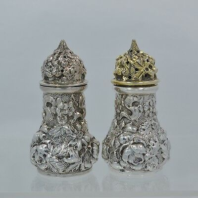 "Stieff Rose Sterling Silver Repousse 2 1/2"" Salt & Pepper Shakers 1931-1932"