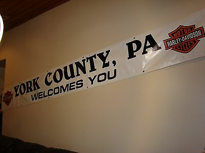 "Original Harley Banner OEM Factory Sign York County Pa. Welcomes You 155"" X 18"""