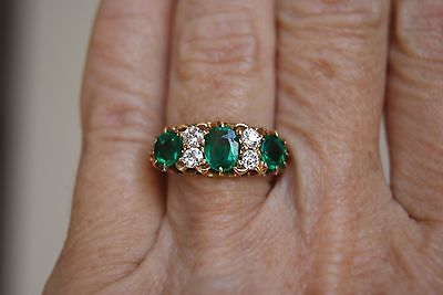Fine Antique Victorian 18 Ct Gold Green Garnet Doublet& Old Cut Diamond Ring L