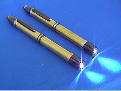 Woodturning Lathe Pen-Light Kits - Gold/Gun Metal & Chrome/Gun Metal x1 or x5