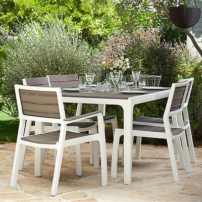 KETER Harmony 6 Seat Dining Set Outdoor Garden Patio Furniture Seater BBQ Table