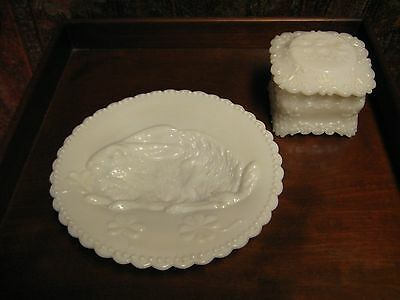 2 Vintage Milk Glass Pieces Bunny Rabbit Plate & Covered Trinket Box Kittens