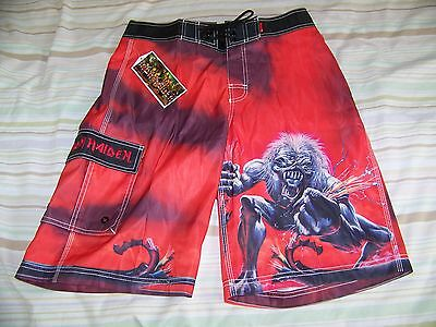 NEW TAGS Iron Maiden A REAL LIVE ONE Dragonfly Swim Suit Trunks Board Shorts 30