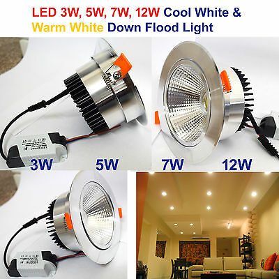 New 3W 5W 7W 12W COB LED Ceiling Downlights Angle Adjustment Recessed Spotlights