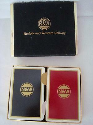 Vintage NORFOLK & WESTERN RAILWAY Playing Cards - Velveteen Case Brown & Bigelow