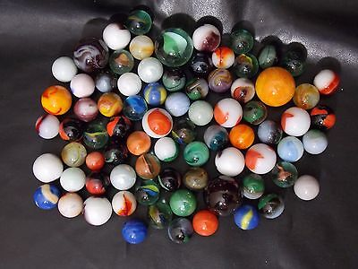 Vintage Lot 77 Old Glass Marbles Collection Assorted Types & Styles