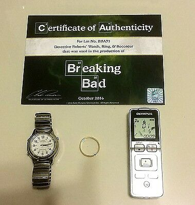 BREAKING BAD Screen-Used Prop ! Detective Roberts' Watch, Ring, & Recorder ! COA