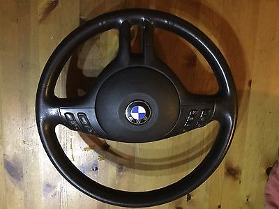 BMW E46 Leather Steering Wheel Multifunction Black With Airbag
