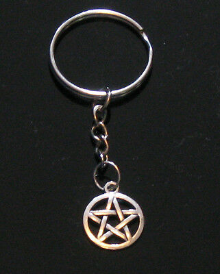 NEW! Silver Pentacle Pentagram Keychain Wicca Pagan Witchcraft Goth Magic Witch