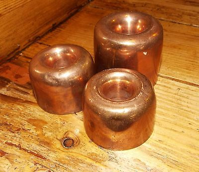 Set of 3 antique small round copper ring moulds dessert jelly cake doughnut