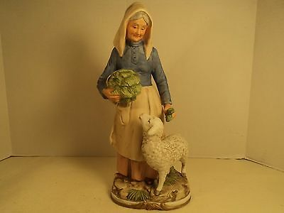 "HOMCO Home Interior #8811 Harvest Time Old Lady with Sheep 11"" Figurine"