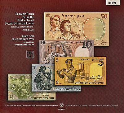 Set Of 5 Souvenir Cards Of The 2Nd Series Banknotes Of Israel No. 120 Of 1999
