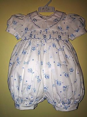 Baby Girls Genuine Vintage Abella Smocked Bubble Romper Outfit 3-6m BNWT