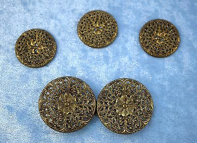 Vintage 1930s Gold Tone Filigree Belt Clip / Buckle and Buttons