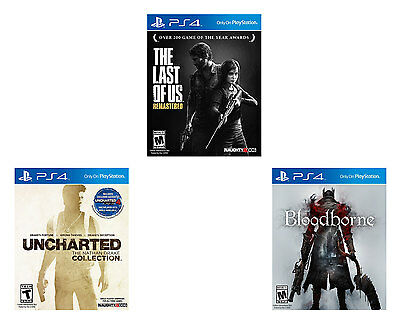 The Last Of US + Uncharted Collection + Bloodborne Playstation 4 PS4 3 New Games