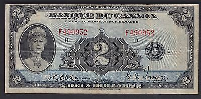 1935 Bank of Canada $2 French Original Very Fine - French Issue