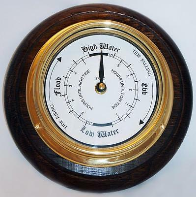 BRASS MARINE TIDE CLOCK AND ENGLISH OAK MOUNT. Artisan - crafted  by us in 1996