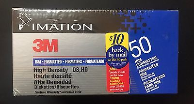 """Brand New 3M Imation 50 Pk IBM Formatted Diskettes 3.5"""" HD"""