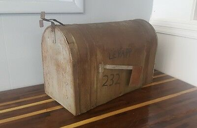 """MAIL BOX USPS LARGE VINTAGE  Galvanized Steel PA RURAL FARM HOME RANCH 23.5""""L"""