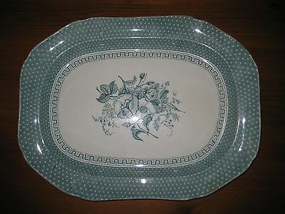 ANTIQUE MEAT PLATTER THOMAS DIMMOCK & SONS c1828-1859 GREEN AUCKLAND WARE HUGE.