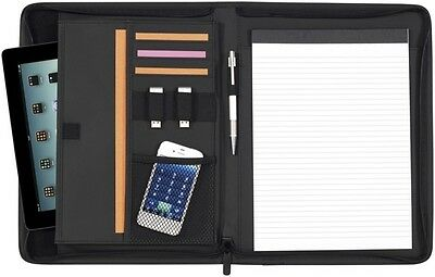A4 Premium Conference Folder Zipped Folio Personal Leather Business Organiser