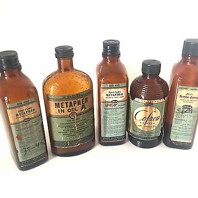 Lot of 5 Vintage Glass Apothecary Medicine Bottles