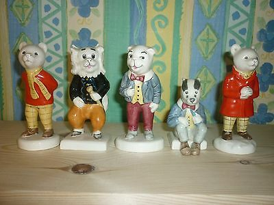 Beswick Rupert Bear And Friends,rare Set Of 5 Figures,1980 To 1986.