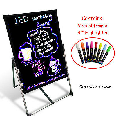 80x60cm LED Fluorescent Advertising Board Erasable Handwriting Notepad + 8 x Pen
