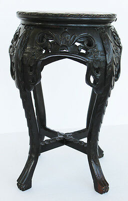 Antique Chinese Carved Wood Plant Stand Marble Table