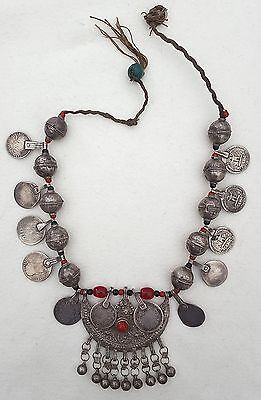 YEMEN - Old necklace, silver beads, old coins and glass beads