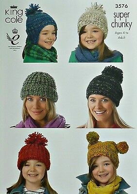KNITTING PATTERN Ladies/Childrens Hats 4 Styles Super Chunky King Cole 3576