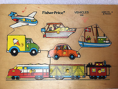 Vintage Fisher Price 8 Piece Wood Childrens Puzzle Vehicles #508
