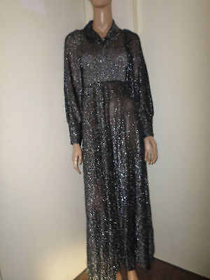 Black Silver Glittery 70,s Vintage Maxi Dress Size 12 Long Sleeves