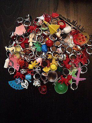 Gumball Prize Rings Charms Junk Lot Vending Toys , 100 Plus
