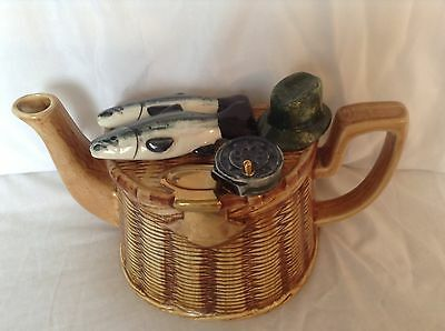 Richard Parrington Fishing Basket Fathers Day Large Collectable Novelty Teapot