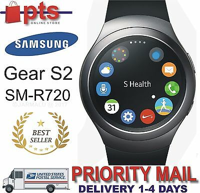 Samsung Galaxy Gear S2 42mm Stainless Steel Case Elastomer Band SM-R7200 - Gray