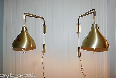 Rare Matching Set 1950's Vintage Wall Sconce Brass Swing Arm Lamps Stilnovo Era