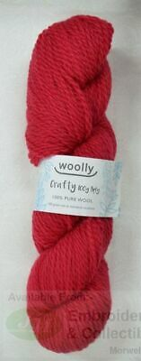 Woolly Crafty Knitting Yarn 100% Pure Wool 8 Ply, 100g Hanks #14 RED