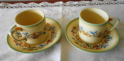 JOHNSON BROS ENGLAND 'VICTORIAN' PATTERN COFFEE CANS/SAUCERS X 2 1930s