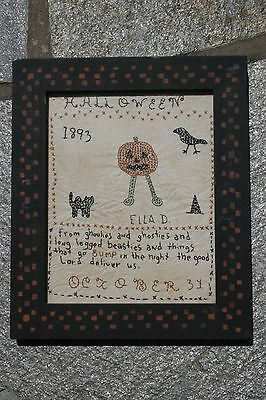 19th Century Sampler Halloween Motif 1893 by Ella D. Unusual Raven Witch Cat