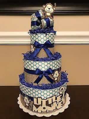 Diaper Cake Little Monkey Blue White Brown Boys Pampers Baby Shower Centerpiece