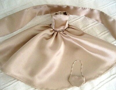"11.5"" Fashion Doll Clothes, Handmade 'Grace' Satin Beaded Dress, Wrap & Bag"