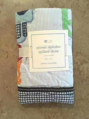NEW Pottery Barn Kids Baby ANIMAL ALPHABET Small Quilted Sham BLUE - FREE SHIP