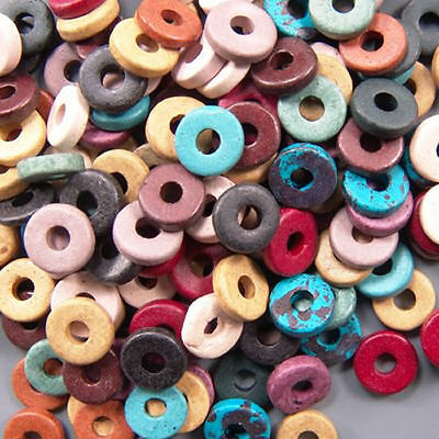 8mm Greek Disk Beads 2.7mm Hole Earthy Mix G22 Large Hole Discs Rondelle Ceramic