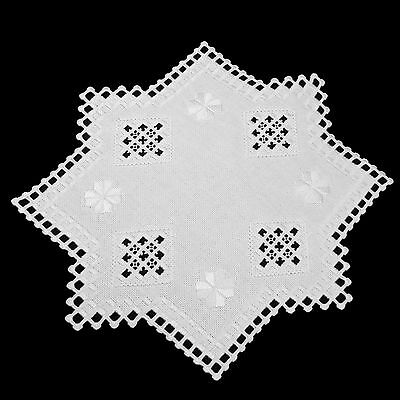 Hardanger Embroidery Small Table Center Doily Classic White DMC Pearl Cotton