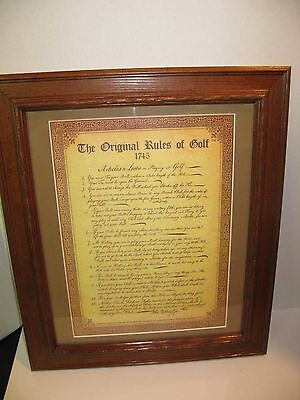 1745 Old Rules of Golf framed & matted Print Antique rare