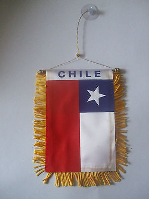 Chile Flag/Chilean/Chile Flag Mini Car banner 4 car mirror or window.Great gift.